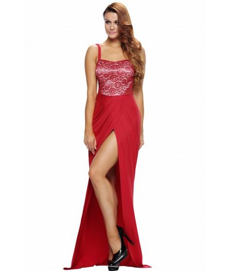 ab8cab3addf11 Robe de soirée rouge longue fente - Madimode.com