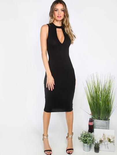 Midi Dress Cutout Black Madimode