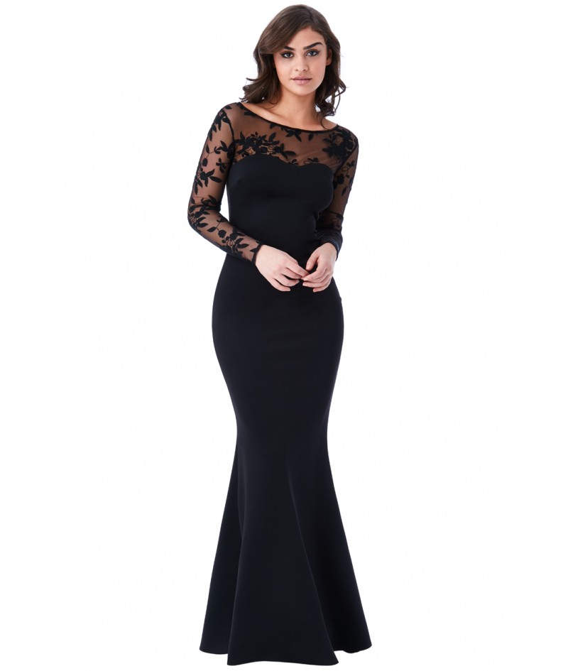 Robe Noire Manches Longues Coupe Sirene Madimode Com